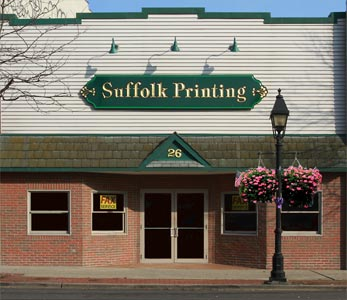 Suffolk Printing's enterance on Main St. Bay Shore New York